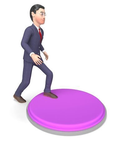 starting a business: Businessman Button Showing Stop Switch And Starting 3d Rendering
