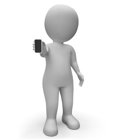 world wide web: Character Smartphone Meaning World Wide Web And Website 3d Rendering