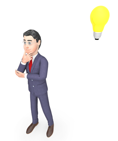 consider: Thinking Businessman Indicating Light Bulb And Consider 3d Rendering