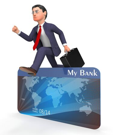 entrepreneurial: Credit Card Meaning Business Person And Buyer 3d Rendering Stock Photo