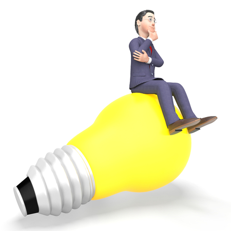 entrepreneurial: Idea Businessman Meaning Think About It And Power Source 3d Rendering