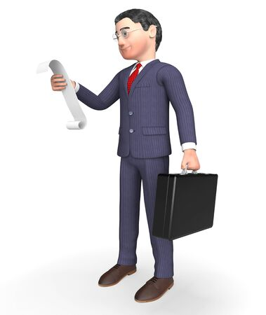 outgoings: Character Businessman Meaning To Do List And Shopping 3d Rendering