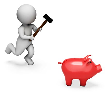 spending: Character Piggybank Indicating Spending Word And Shopping 3d Rendering Stock Photo