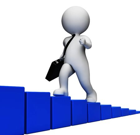 victorious: Climb Challenge Meaning Business Person And Increase 3d Rendering