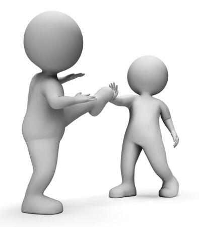 defensa personal: Karate Caracteres Mostrando la autodefensa y entrenamiento representación 3d