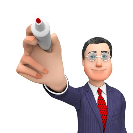 scribe: Businessman Character Showing Entrepreneurs Communicate And Scribe 3d Rendering