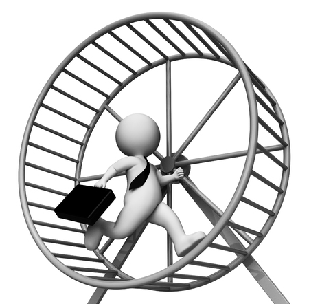trapped: Hamster Wheel Meaning Business Person And Burdensome 3d Rendering