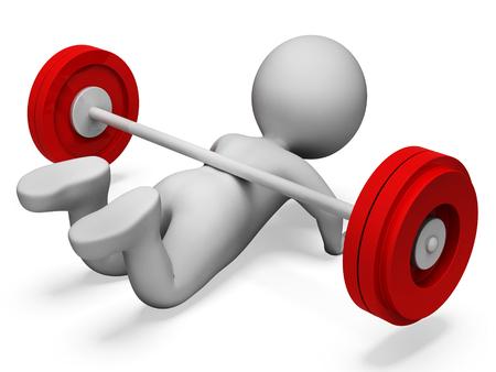 Character Gym Darstellen Körperliche Aktivität und Schwäche 3D-Rendering