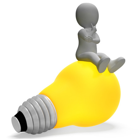 considering: Character Lightbulb Indicating Think About It And Power 3d Rendering