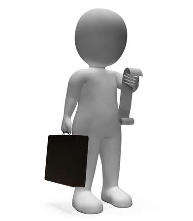 outgoings: Checklist Receipt Indicating Business Person And Illustration 3d Rendering