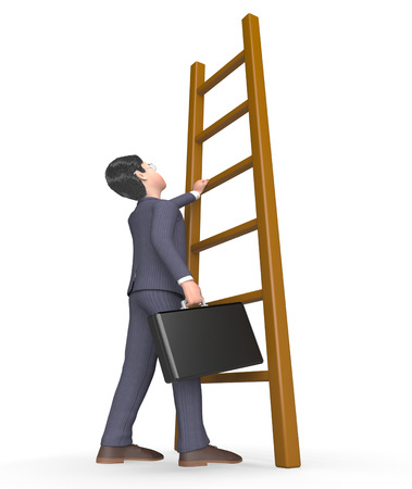 times up: Challenge Climb Showing Business Person And Man 3d Rendering