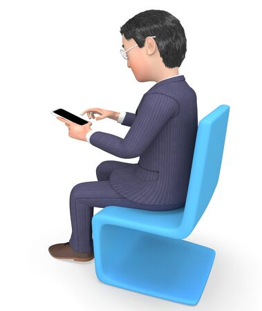 phone call: Businessman Character Representing Phone Call And Chat 3d Rendering