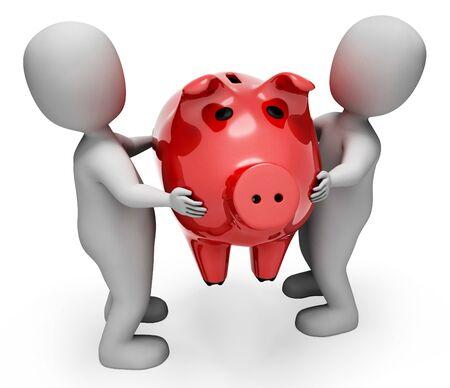 indicating: Character Savings Indicating Piggy Bank And Render 3d Rendering Stock Photo