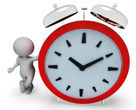 Time Character Representing Alarm Clock And Waking 3d Rendering