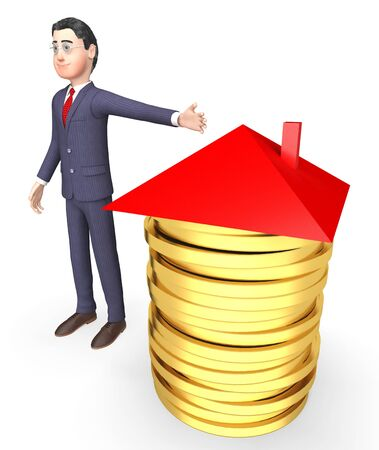 home ownership: Finance Character Meaning Business Person And Profit 3d Rendering