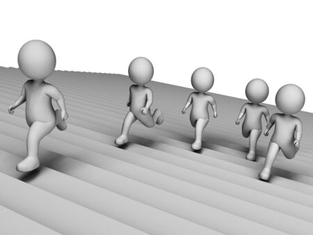 jog: Stairs Running Meaning Get Fit And Jog 3d Rendering