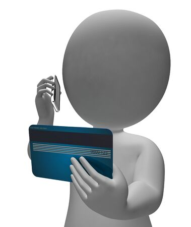 credit card debt: Credit Card Showing Buys Commerce And Debt 3d Rendering