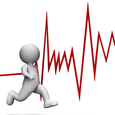 Running Heartbeat Resultaat Health Check en zorg 3D-rendering Stockfoto