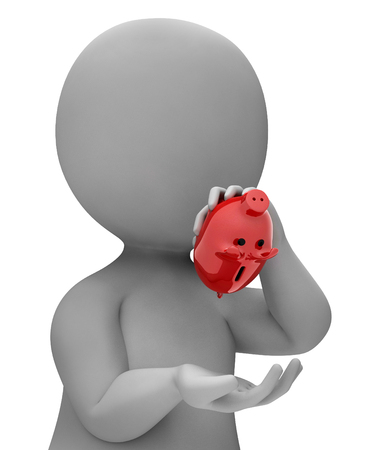 indebtedness: Money Save Indicating Financial Problem And Crisis 3d Rendering