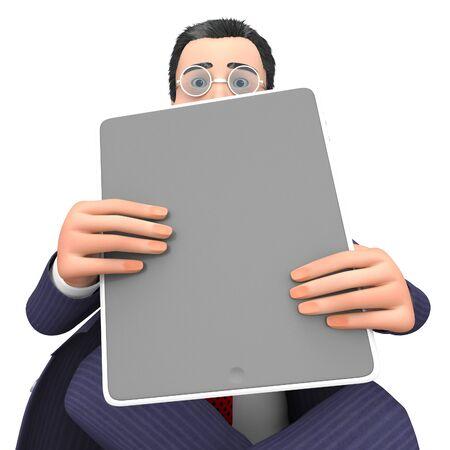 entrepreneurial: Businessman Tablet Representing World Wide Web And Website 3d Rendering
