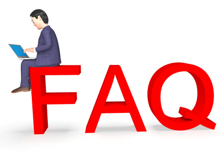 frequently: Faq Character Indicating Frequently Asked Questions And Business Person 3d Rendering