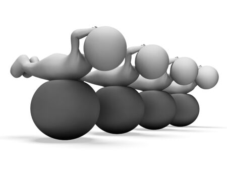man working out: Exercise Ball Showing Working Out And Men 3d Rendering Stock Photo