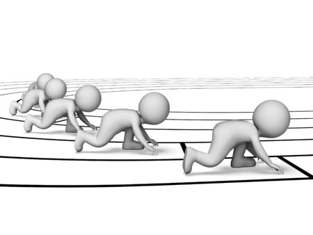 sprinting: Characters Running Indicating Athletics Sprinting And Athletic 3d Rendering