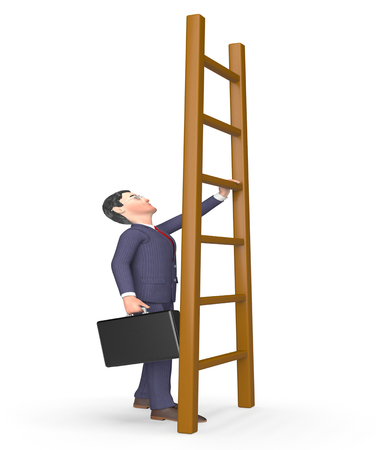 times up: Ladder Challenge Representing Hard Times And Increase 3d Rendering Stock Photo