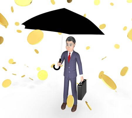 windfalls: Money Windfall Meaning Business Person And Executive 3d Rendering