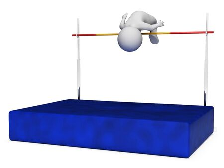 high jump: High Jump Meaning Hard Times And Training 3d Rendering Stock Photo