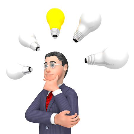 lightbulbs: Character Lightbulbs Showing Business Person And Innovations 3d Rendering