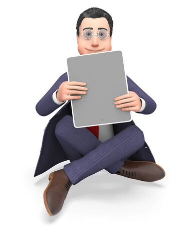 world wide web: Online Character Showing World Wide Web And Business Person 3d Rendering