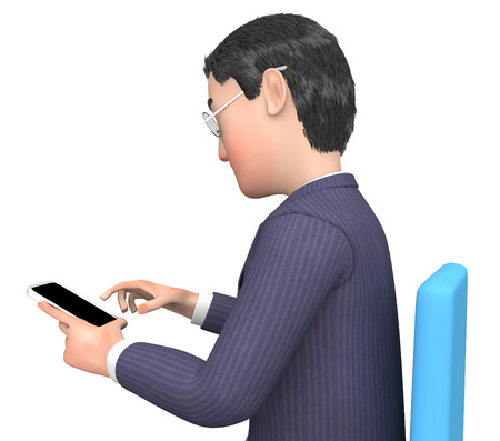 smartphone business: Smartphone Calling Showing Business Person And Chatting 3d Rendering Stock Photo