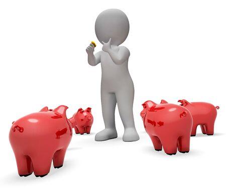 piggybank: Piggybank Save Indicating Moneybox Prosperity And Illustration 3d Rendering