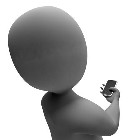 correspond: Character Smartphone Representing Call Us And Contact 3d Rendering Stock Photo