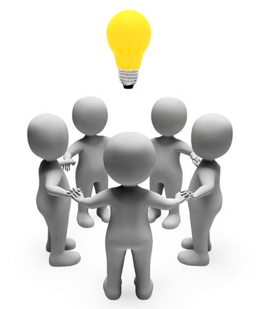 coordinated: Idea Characters Meaning Light Bulb And Contemplation 3d Rendering Stock Photo