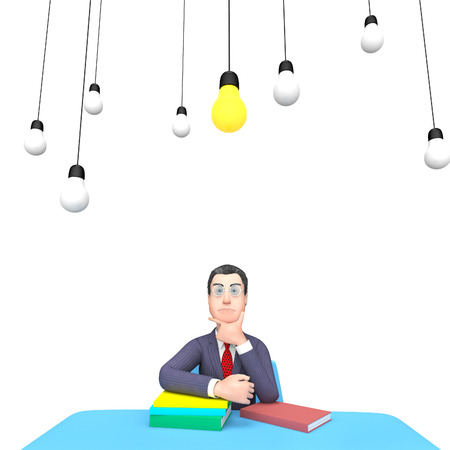 lightbulbs: Lightbulbs Character Meaning Think About It And Business Person 3d Rendering