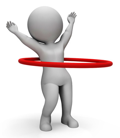 hulahoop: Hoop Showing Physical Activity And Fit 3d Rendering Stock Photo