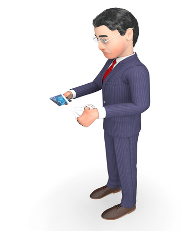 Credit Card Meaning Business Person And Spend 3d Rendering Stock Photo