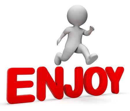 render 3d: Enjoy Jump Indicating Man Joyful And Render 3d Rendering