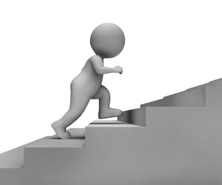 jog: Running Stairs Indicating Mission Jogging And Jog 3d Rendering