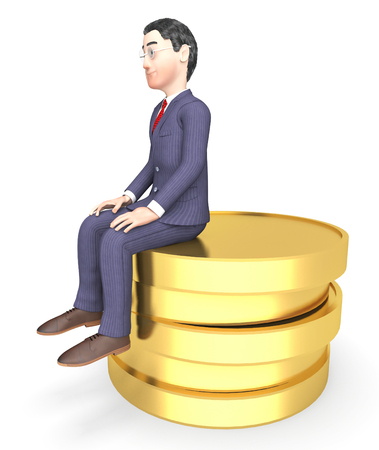 riches: Money Character Representing Business Person And Riches 3d Rendering