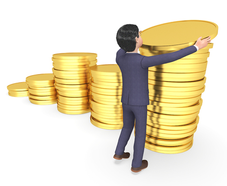 entrepreneurial: Money Businessman Showing Character Finance And Saved 3d Rendering Stock Photo