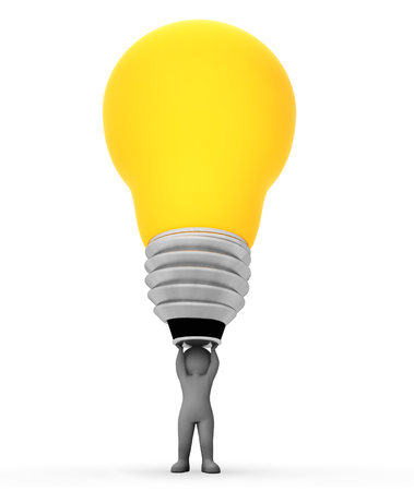 lightbulb idea: Lightbulb Idea Meaning Power Source And Concepts 3d Rendering