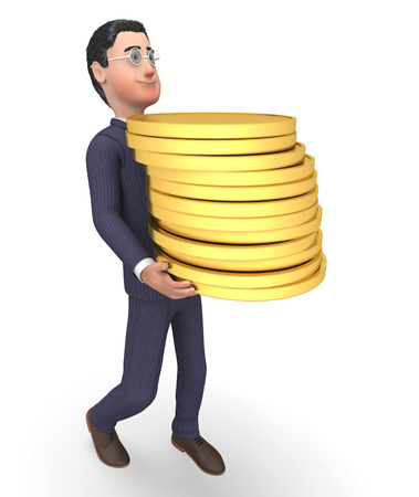 earn: Savings Businessman Indicating Accounting Earn And Bank 3d Rendering