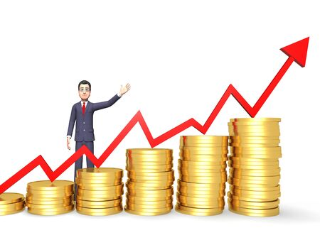 succeed: Profits Character Representing Success Successful And Succeed 3d Rendering Stock Photo
