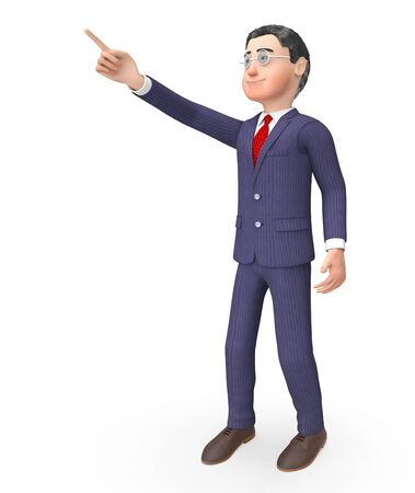 people looking up: Pointing Character Representing Business Person And Up 3d Rendering Stock Photo
