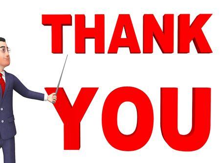 gratefulness: Gracias Indicando Personas de negocios y agradecimiento representaci�n 3d Foto de archivo