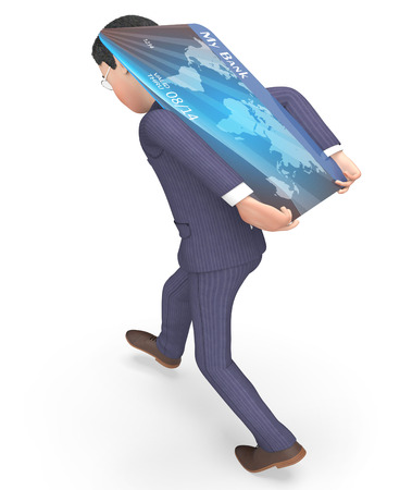 paying: Credit Card Indicating Business Person And Paying 3d Rendering