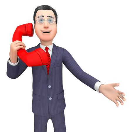 persona llamando: Calling Talking Meaning Business Person And Phone 3d Rendering